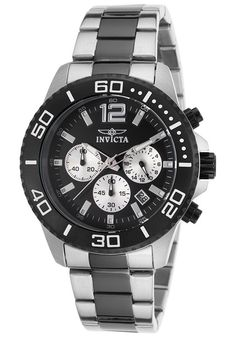 Invicta Mens Pro Diver Chronograph Stainless Steel Black Dial