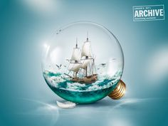 Sailing boat in a light bulb - Speed Art Digital Art Photography, Surrealism Photography, Light Bulb Art, Plakat Design, Speed Art, Jar Art, Collage Design, Ads Creative, Fantasy Landscape