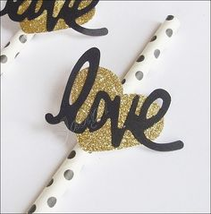 #PartyStraws, #GoldGlitter #Heart With Love, Black And White Polka Dots, Wedding Decor, Bridal Shower Supplies, Set Of 24, by Jaclyn Peters Designs