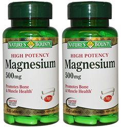 Natures Bounty High Potency Magnesium 200 Tablets 2 X 100 Count Bottles *** To view further for this item, visit the image link. (This is an affiliate link) Magnesium Supplements, Tooth Enamel, Cellular Energy, Strong Bones, Metabolism, Health Fitness, Count, Bottles, Healthy