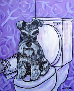schnauzer in the bathroom animal 4x6  dog art GLOSSY PRINT animals impressionism #modern