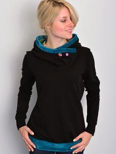 Hoodies - Jersey Hoodie - schwarz - Blumen - Teddy - ein Designerstück von stadtkind_potsdam bei DaWanda