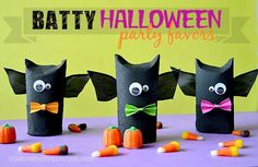These treat boxes are so easy, so cute and so much fun to make! Going Batty for Halloween Favors. halloween, bats, halloween party, party favors, kids, crafts, kids craft, moms, family, dads, school party, fall fest, trick or treating, trunk or treat, gifts, easy, recycle, recycling, cute, not scary, happy halloween
