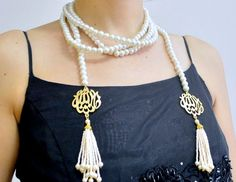 PEARL ISLAM NECKLACE, pearl necklace, multistrand necklace, tassel necklace, islamic necklace, multiline necklace, white necklace, Masallah