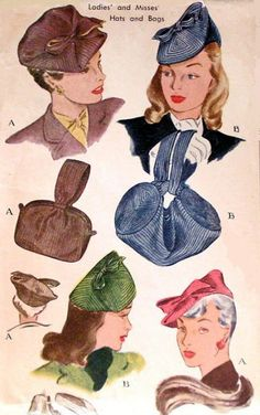 1940s FLIRTY HATS BAGS PURSE PATTERN 2 HAT and PURSE STYLES McCALLS 1228