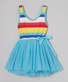 Another great find on #zulily! Blue Rainbow Stripe Tutu Dress - Toddler & Girls by Di Vani #zulilyfinds