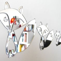 FOX FAMILY MIRROR SET - Gorgeous fox family set of three mirrors that come with removable adhesive. These shatterproof mirrors are handmade from mirror finish Perspex and won't leave marks on the wall. The father fox is 280 x 260 mm; mother fox 180 x 170 mm and baby fox 110 x 110 mm