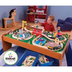KidKraft Ride Around Town Train Table and Train Set - 17836 - With our exciting KidKraft Ride Around Town Train Table and Train and Train Set - 17836 ...  sc 1 st  Pinterest & Discovery Kids Wooden Table Train Set | Overstock.com Shopping - The ...
