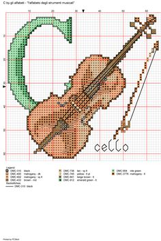 Musical instruments alphabet - C for Cello (this C can also be used to replace the K on 'Klarinet')