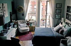 SO inspirational for small apartment living! This girl runs an Etsy shop out of this place!