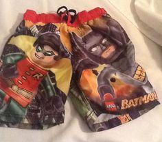 9459a63aaf BOYS SIZE xs LEGO BATMAN SWIM TRUNKS/BOARD SHORTS W/ ROBIN #LEGOBATMAN #