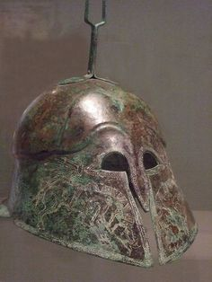 - Corinthian-style Etruscan helmet incised with images of boars Bronze century BC Photographed at the Dallas Museum of Art in Dallas, Texas . Helmet Armor, Warrior Helmet, Spartan Warrior, Ancient Troy, Renaissance Time, Vintage Helmet, A Knight's Tale, Medieval Fantasy, Bronze Age