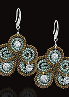 Free Beaded Earring Pattern--Sparkle Flower Earrings--Discover a new twist on an old technique. Create your own Sparlle Flower Earrings with Toho seed beads and CZ Gem Dropz to make DIY jewelry craft.