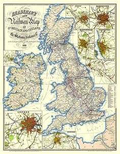 Bradshaw railway map, George Bradshaw's popular railway timetable guides, which were revised and republished long after his death, are what he is best known for. Vintage Maps, Antique Maps, Map Of Great Britain, Pirate Maps, Ohio Map, British History, Uk History, Asian History, Tudor History