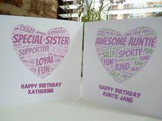 Personalised Heart Birthday Card, Personalised Auntie Birthday Card, Personalised Sister Birthday Card,