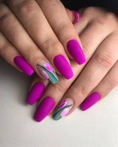nails - Flower nail art, tulip on negative space Cute Acrylic Nails, Cute Nails, Acrylic Nail Designs, Nail Art Designs, My Nails, Nail Designs Spring, Design Art, Tulip Nails, Magenta Nails