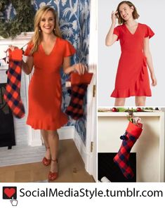 f61122209df Buy Reese Witherspoon s Draper James Ruffled Red Dress and Plaid Stockings  here! Plaid Stockings