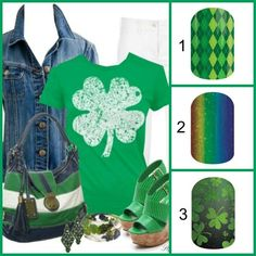 St Patrick's day nail art and style board