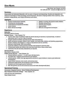 babysitter resume sample babysitter resume is going to help anyone who is interested in becoming a part time nanny a good babysitter can be best described