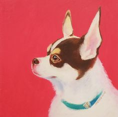 Vacu I by Saehee Park - 2015, Oil pastel on paper, 20 x 20 cm. Discover more on www.parksaehee.com #painting #illustration #dog #pink