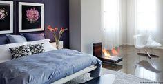 Purple white bedroom scheme