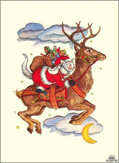 A different kind of Santa on a Reindeer / Christmas Card Art - Postcard - Posters