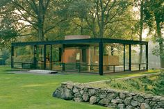 "Coolness History: Coolness Homes of the last century - ""The Glass House"" (1949) by architect Philip Johnson, is a glass & steel country home set amid 47-acres of lush woodland. The only room with privacy is the bath, a red brick cylinder at the center of the home. It is now open to the public, along with the eccentric outbuildings added over the years by Johnson. Transparent Coolness..."