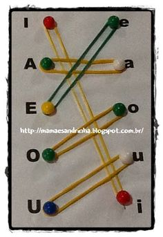 Match uppercase and lowercase letters with pushpins and rubberbands to promote fine-motor development and letter recognition. Preschool Learning Activities, Preschool Curriculum, Alphabet Activities, Language Activities, Educational Activities, Preschool Activities, Kids Learning, Diy Sensory Board, Learning The Alphabet