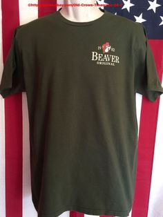 Beaver Original Buc Wes Texas Born 1982 Olive Green T Shirt Large | eBay