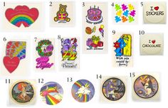 Assorted vintage 80's stickers for sale on our website. Hearts, bears, Moodies, Valentine's, rainbows, Christmas. Russ, Pacific Panache, AGC, BJ Decal Specialties.