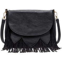 Sole Society Maxine fringe crossbody ($55) ❤ liked on Polyvore featuring bags, handbags, shoulder bags, purses, bolsas, accessories, black, black satchel purse, black cross body purse and fringe purse