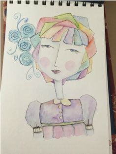 Whimzy Girly in watercolor and pen