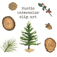 Rustic Watercolor Clip Art Set, Pine Tree Painting, Wood Slice, Acorn, Pine cone, Berry Branch, Painted Forest Graphics, Log Cabin, wedding