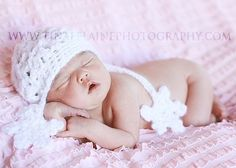 Baby Girl Snowflake Crochet Newborn Winter by OopsIKnitItAgain, $24.00