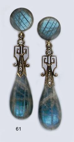Victorian Labradorite, Pearl And Gold Drop Earrings.