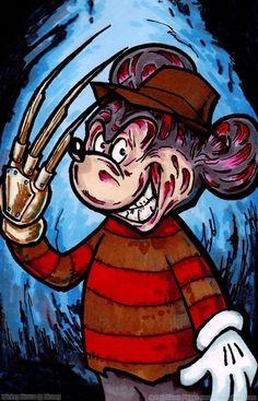 Freddy Krueger Mickey Horror Cartoon, Horror Icons, Disney Horror, Dark Disney, Disney Fun, Mickey Minnie Mouse, Disney Mickey, Scary Movies, Horror Movies