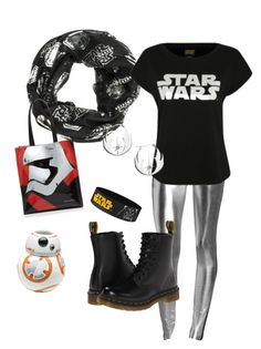 """Star Wars Day (silver)"" by criketdawn on Polyvore featuring Norma Kamali, Episode, George, ZAK, Dr. Martens, Bloomingdale's, Silver, starwars, geekgirl and starwarsfan"
