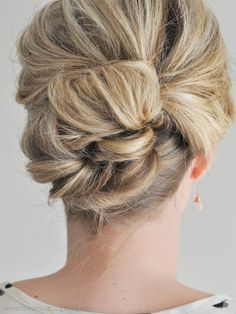 Easy updo courtesy of The Small Things Blog. Click through for the tutorial.