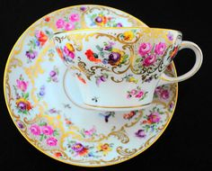 Antique Dresden Germany rose flowers gold gilt delicate Tea cup and saucer