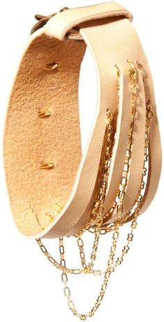 If I was a bracelet, I'd look something like this nude leather and chain bracelet by Castro NYC. I'd probably be cheaper, though. $150. French Connection, Goats, Nyc, Chain, Bracelets, Leather, Jewelry, Jewlery, Jewerly