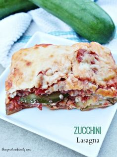 A Zucchini Lasagna recipe that is a healthy alternative from a traditional lasagna dinner.