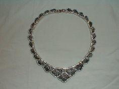 vintage nolan miller clear black diamond pave crystals bib necklace on Etsy, $325.00