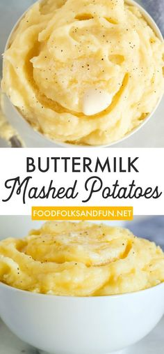 This Buttermilk Mashed Potatoes recipe is a quick and easy Thanksgiving side dish. The buttermilk makes these potatoes creamy, a little tangy, and so irresistible! Potato Side Dishes, Side Dishes Easy, Vegetable Side Dishes, Side Dish Recipes, Healthy Side Dishes, Dinner Recipes, Buttermilk Mashed Potatoes, Mashed Potato Recipes, Creamy Mashed Potatoes