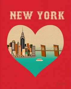 New York City Skyline Print, New York City Heart Print, New York Nursery, nyc wall art heart, Loose Petals City Art Print style City Art, Poster Beer, Office Prints, Retro Font, Art Deco Posters, New York, Etsy, Art Prints, Wall Art