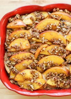Overnight French Toast Casserole with Peaches and Praline Topping recipe by Barefeet In The Kitchen