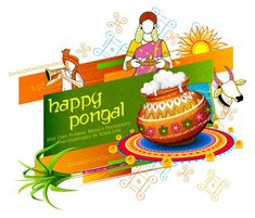 Happy Pongal Holiday Harvest Festival of Tamil Nadu South India greeting background — Stock Illustration