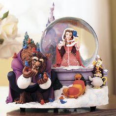 Disney Beauty & the Beast belle snow water globe Christmas winter scene