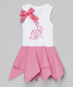 This Beary Basics Pink Damask Bunny Handkerchief Dress - Infant, Toddler & Girls by Beary Basics is perfect! #zulilyfinds