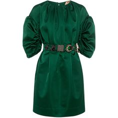 No.21 - Anabel Embellished Belted Satin Mini Dress (€1.190) ❤ liked on Polyvore featuring dresses, waist belts, green ruched dress, green dress, green satin dress and green mini dress