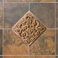 Solid Copper Wall Tile with Vines & Flower Design